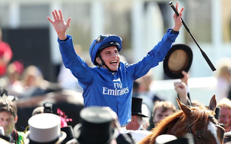 William Buick celebrates Derby victory on Masar - PA