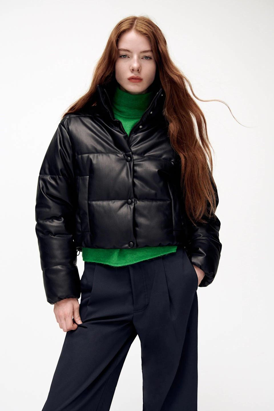 <p>This <span>Zara Faux Leather Puffer Jacket</span> ($90) is equal parts sporty and sophisticated. We're in love.</p>