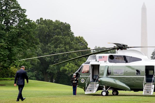 <p>Marine One waits on the South Lawn of the White House, June 16, 2016, to take President Obama to Andrews Air Force Base and then to Orlando, Fla. (AP/Andrew Harnik) </p>