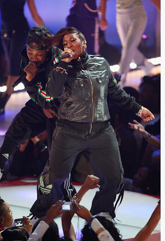 "Rapper Missy Elliott lets loose! Theo Wargo/<a href=""http://www.wireimage.com"" target=""new"">WireImage.com</a> - February 21, 2008"