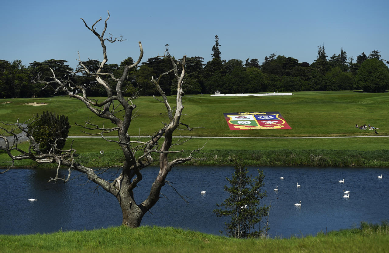 Rugby Union - British & Irish Lions Press Conference - Carton House, Co. Kildare, Ireland - 25/5/17 General view of  the British & Irish Lions emblem on a banner outside Carton House after the press conference Reuters / Clodagh Kilcoyne Livepic EDITORIAL USE ONLY.