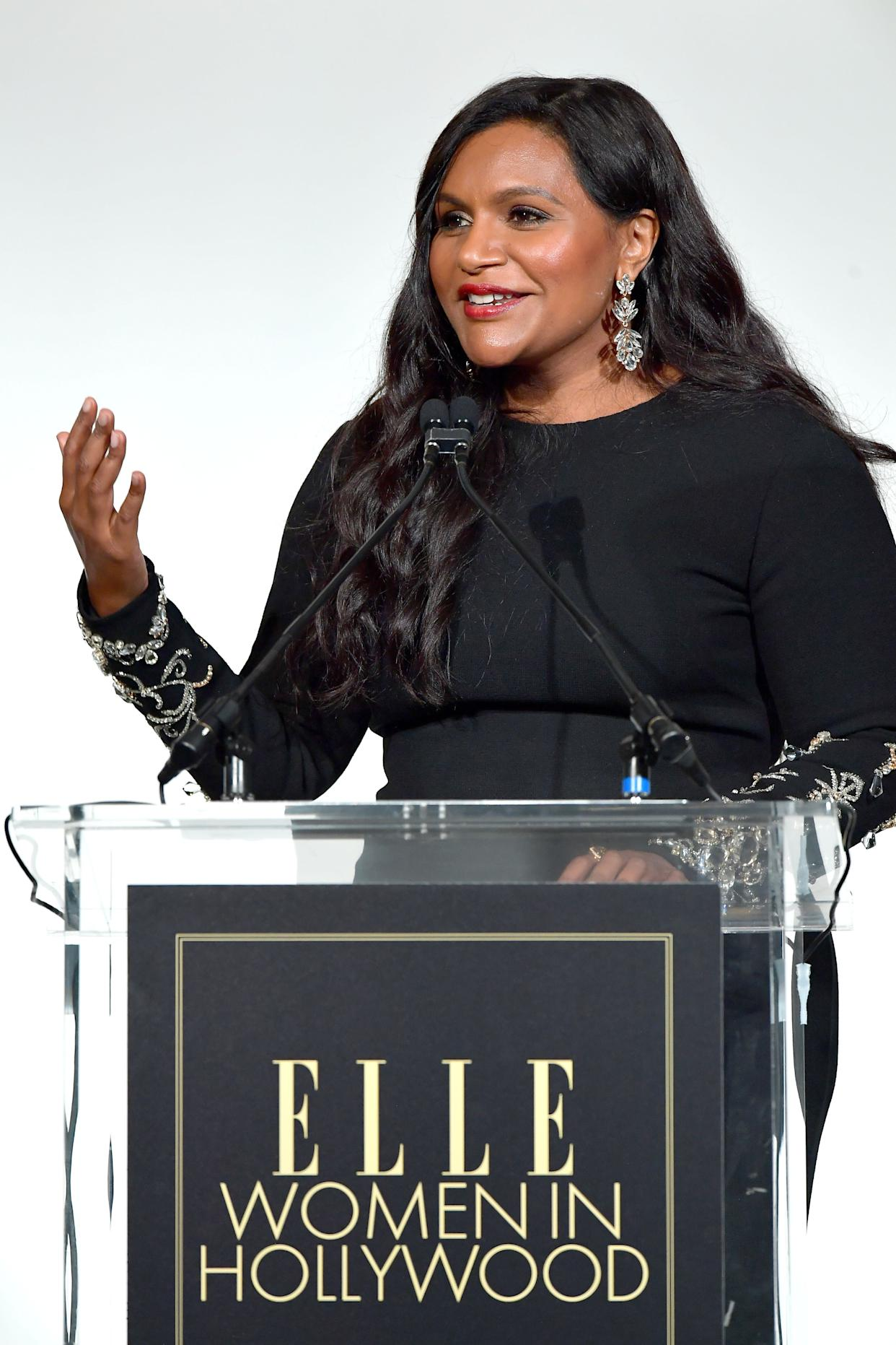 Mindy Kaling speaks onstage during Elle's 26th Annual Women In Hollywood Celebration on Monday. (Photo: Matt Winkelmeyer via Getty Images)