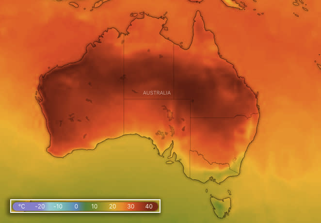 Forecast temperatures across Australia at 3pm on Monday. Source: Windy