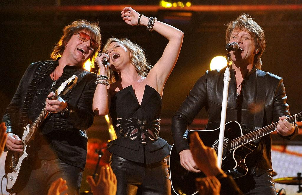 Richie Sambora, Jennifer Nettles of Sugarland, and Jon Bon Jovi perform at The 52nd Annual Grammy Awards held at Staples Center on January 31, 2010 in Los Angeles, California.