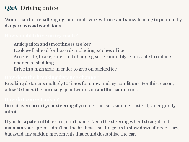 Q&A | Driving on ice