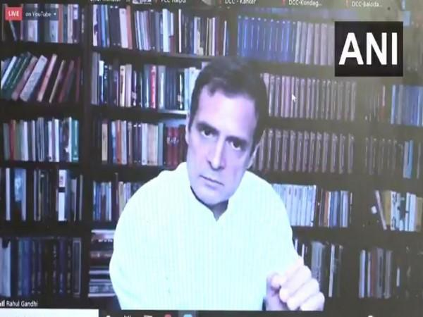 Congress leader Rahul Gandhi in a virtual press conference on Thursday. Photo/ANI