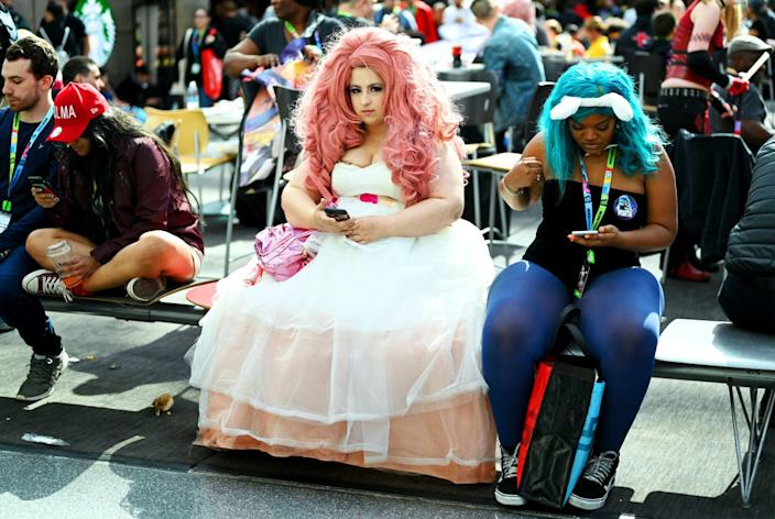 """<div class=""""inline-image__caption""""><p>A cosplayer dressed as """"Rose Quartz"""" from Steven Universe attends New York Comic Con 2019 - Day 2 at Jacobs Javits Center on October 04, 2019 in New York City. </p></div> <div class=""""inline-image__credit"""">Bryan Bedder/Getty</div>"""
