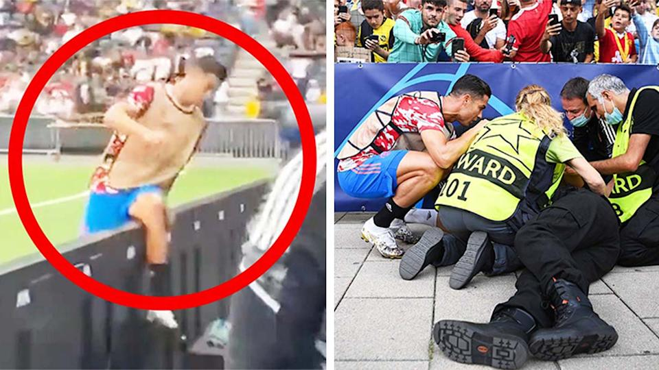 Cristiano Ronaldo (pictured left) jumps the the barrier after accidentally knocking down a steward and (pictured right) checking on her wellbeing.