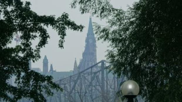 A hazy sky seen in Ottawa on Monday, July 19, 2021. A special air quality statement is in effect for the region because of wildfires burning in northwestern Ontario. (Ian Black/CBC - image credit)