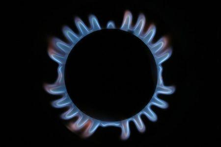 A gas hob is seen in this photo illustration taken in London