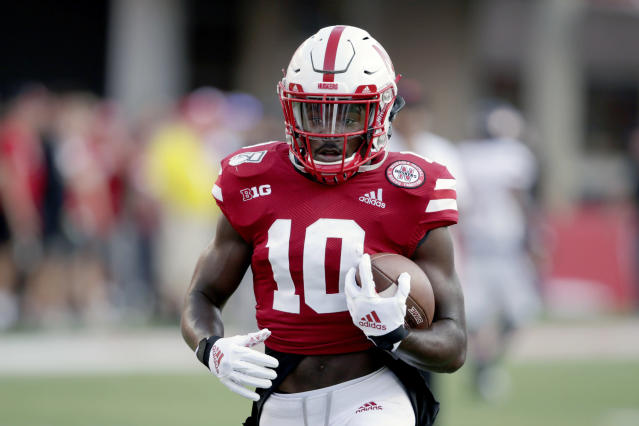 FILE - In this Sept. 14, 2019, file photo, Nebraska wide receiver JD Spielman (10) warms up before playing an NCAA college football game against Northern Illinois in Lincoln, Neb. Spielman, one of the top receivers in Nebraska history, has entered his name in the transfer portal, the school confirmed Monday, June 8, 2020. Spielman is the first player to put together three straight 800-yard receiving seasons for the Cornhuskers and leaves No. 3 in career receptions and yards. (AP Photo/Nati Harnik, File)
