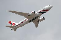 FILE PHOTO: A Biman Bangladesh Airlines Boeing 787 puts on a display at the Farnborough Airshow, in Farnborough