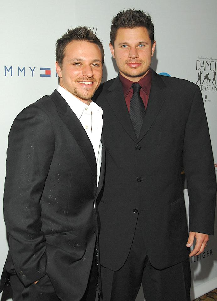 """Drew and Nick Lachey turned up the heat in the late 90s as members of the boy band 98 Degrees. Kevin Mazur/<a href=""""http://www.wireimage.com"""" target=""""new"""">WireImage.com</a> - April 13, 2008"""
