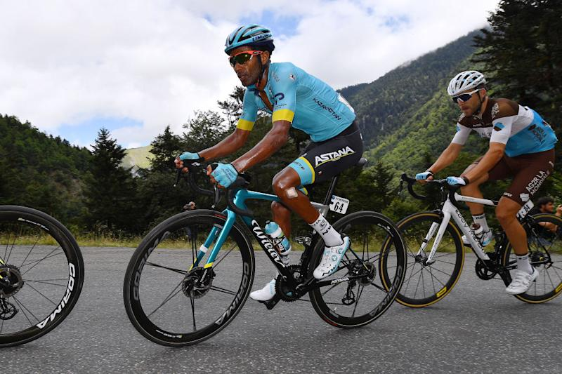 SARRANCOLIN FRANCE AUGUST 03 Merhawi Kudus Ghebremedhin of Eritrea and Astana Pro Team Tony Gallopin of France and Team Ag2R La Mondiale during the 44th La Route dOccitanie La Depeche du Midi 2020 Stage 3 a 1635km stage from Saint Gaudens to Col de Beyrde 1417m RouteOccitanie RDO2020 on August 03 2020 in Sarrancolin France Photo by Justin SetterfieldGetty Images