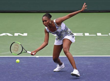 Mar 13, 2018; Indian Wells, CA, USA; Venus Williams (USA) during her third round match against Anastasia Sevastova (not pictured) in the BNP Paribas Open at the Indian Wells Tennis Garden. Jayne Kamin-Oncea-USA TODAY Sports