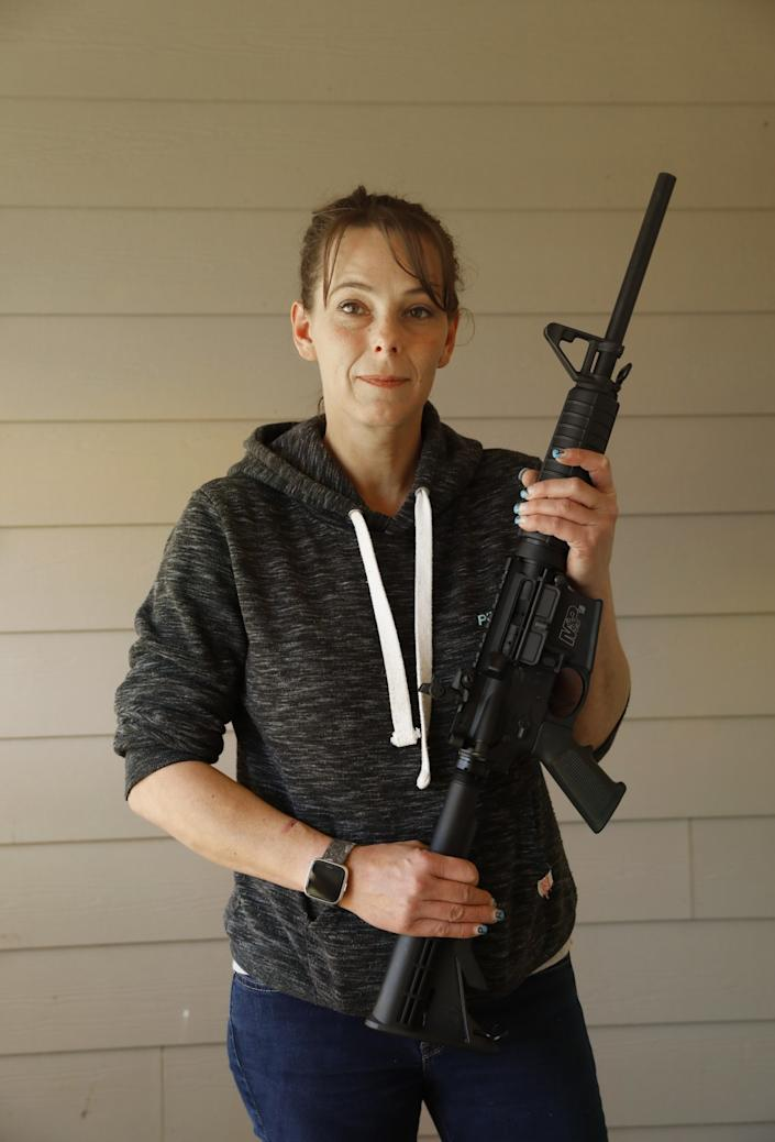 Leslee Cates hopes to get her license to sell guns in Crescent City, Calif.