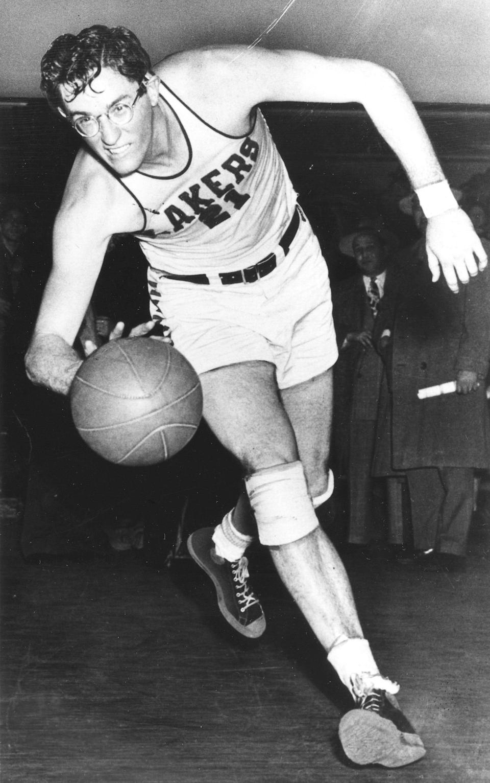 George Mikan, former DePaul University basketball star now with the Minneapolis Lakers of the National Basketball Association in an undated photo.