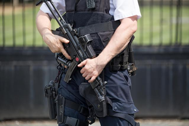 Armed policeman standing guard outside the Houses of Parliament. (Getty/stock pic)
