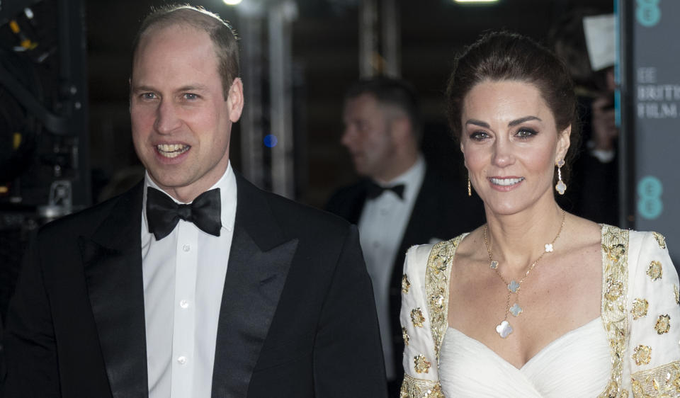 LONDON, ENGLAND - FEBRUARY 2: Prince William, Duke of Cambridge and Catherine, Duchess of Cambridge attend the EE British Academy 2020 Film Awards at the Royal Albert Hall on 2 February 2020 in London, England.  (Photo by Mark Cuthbert / UK Press via Getty Images)