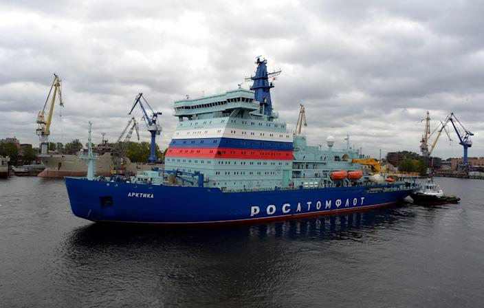 Russia's nuclear-powered icebreaker Arktika leaves the port of Saint Petersburg on September 22, 2020 for its maiden voyage to its future home port of Murmansk in northwestern Russia, where it is expected in two weeks after undergoing tests of its performance en route. / Credit: OLGA MALTSEVA/AFP/Getty