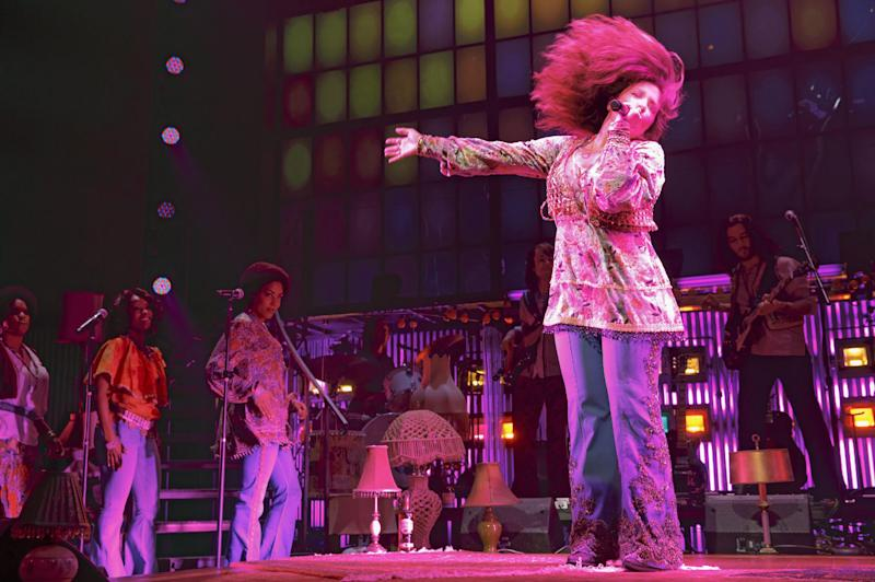 "This theater image released by Boneau/Bryan-Brown shows Mary Bridget Davis performing in ""A Night with Janis Joplin,"" at the Lyceum Theatre in New York. Davies and her ""A Night With Janis Joplin,"" which opens Thursday, are part of a new wave of musicals featuring female singer-songwriters, a list that includes a Carole King musical making its way to Broadway. (AP Photo/Boneau/Bryan-Brown, Joan Marcus)"
