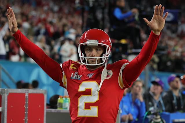 "Dustin Colquitt of the Kansas City Chiefs reacts against the <a class=""link rapid-noclick-resp"" href=""/nfl/teams/san-francisco/"" data-ylk=""slk:San Francisco 49ers"">San Francisco 49ers</a> in Super Bowl LIV at Hard Rock Stadium on February 02, 2020 in Miami, Florida. (Jamie Squire/Getty Images)"