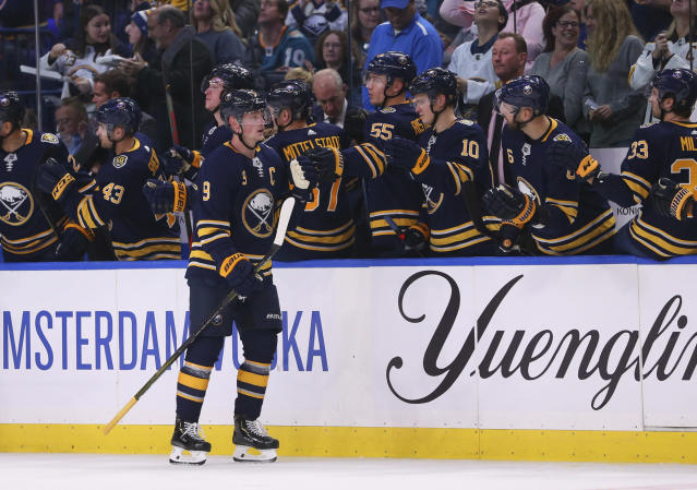 Buffalo Sabres forward Jack Eichel celebrates his goal during the second period of the team's NHL hockey game against the San Jose Sharks, Tuesday, Oct. 22, 2019, in Buffalo, N.Y. (AP Photo/Jeffrey T. Barnes)