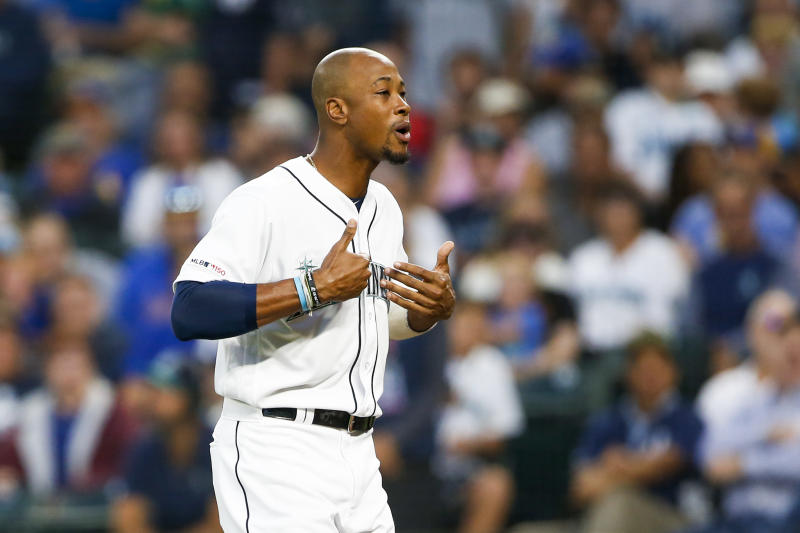 Aug 26, 2019; Seattle, WA, USA; Seattle Mariners right fielder Keon Broxton (4) reacts following his ejection against the New York Yankees during the second inning at T-Mobile Park. Mandatory Credit: Joe Nicholson-USA TODAY Sports