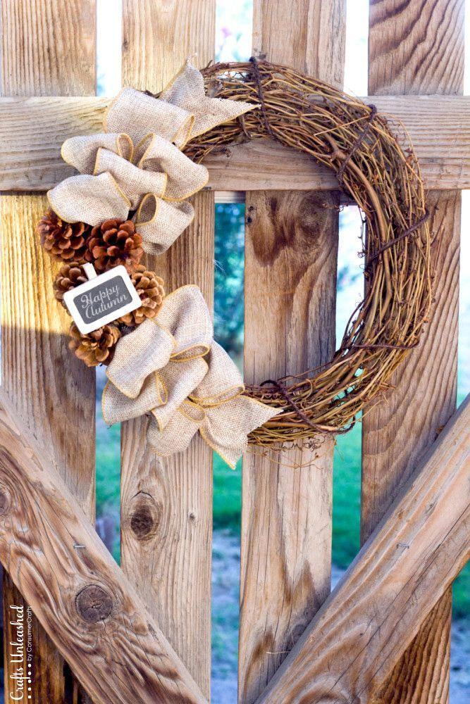 """<p>Add a tiny mini chalkboard tag to this wreath to spell out a cute fall greeting. </p><p><strong>Get the tutorial at <a href=""""http://www.craftsunleashed.com/decor-home/rustic-diy-fall-wreath/"""" rel=""""nofollow noopener"""" target=""""_blank"""" data-ylk=""""slk:Crafts Unleashed"""" class=""""link rapid-noclick-resp"""">Crafts Unleashed</a>.</strong> </p>"""