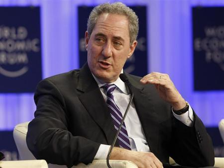 Froman U.S. Trade Representative gestures during session of World Economic Forum in Davos