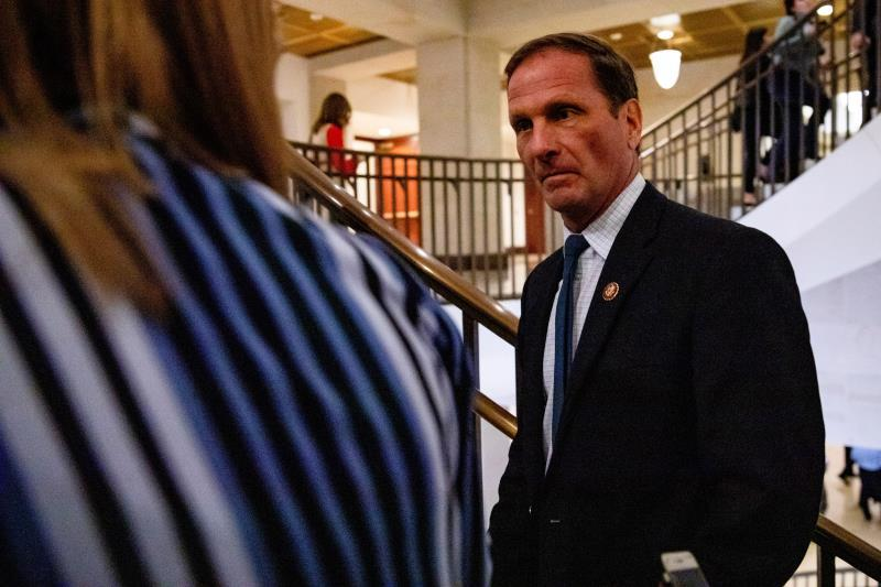 Reporters ask Rep. Chris Stewart (R-UT) as he leaves the Sensitive Compartmented Information Facility (SCIF) where the House Permanent Select Committee on Intelligence held a closed door meeting on Capitol Hill in Washington, DC, USA, 03 December. EFE/EPA/SAMUEL CORUM