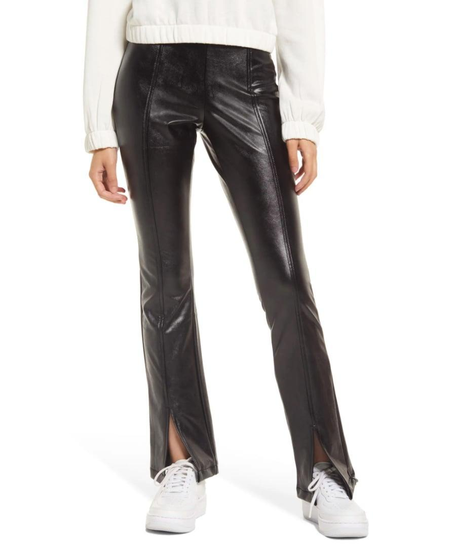 <p>Warning: you're going to get <em>a lot</em> of compliments on these <span>BP. Faux Leather Flare Leggings</span> ($39). They have a slit in the front, so you can rock them with sneakers and heels alike.</p>