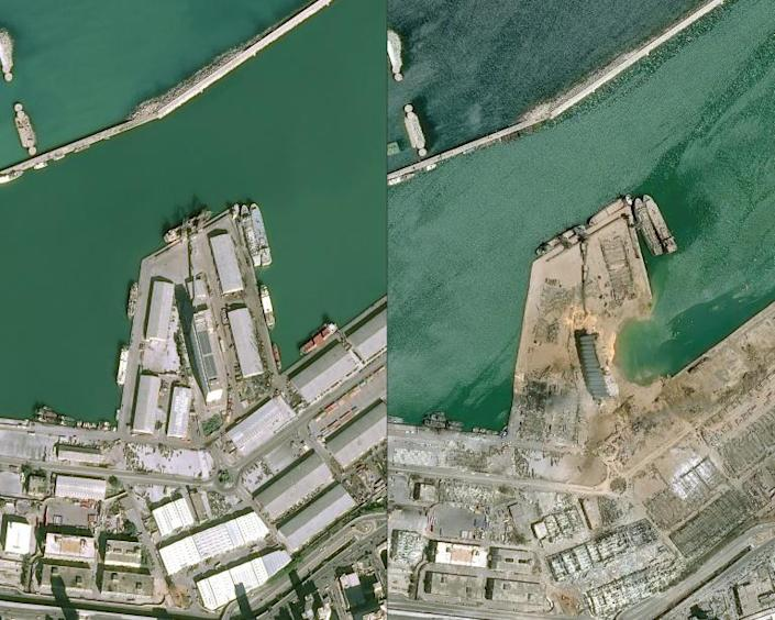 Satellite images show Beirut's port before and after Tuesday's massive blast (AFP Photo/-)