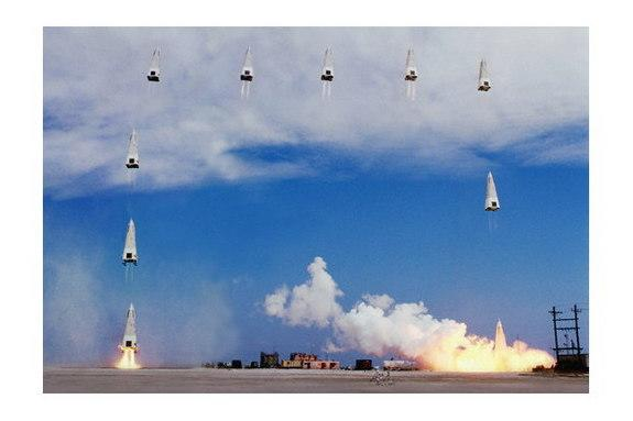 This photo montage shows how NASA's DC-X reusable rocket prototype launched and landed vertically during trials in 1993.