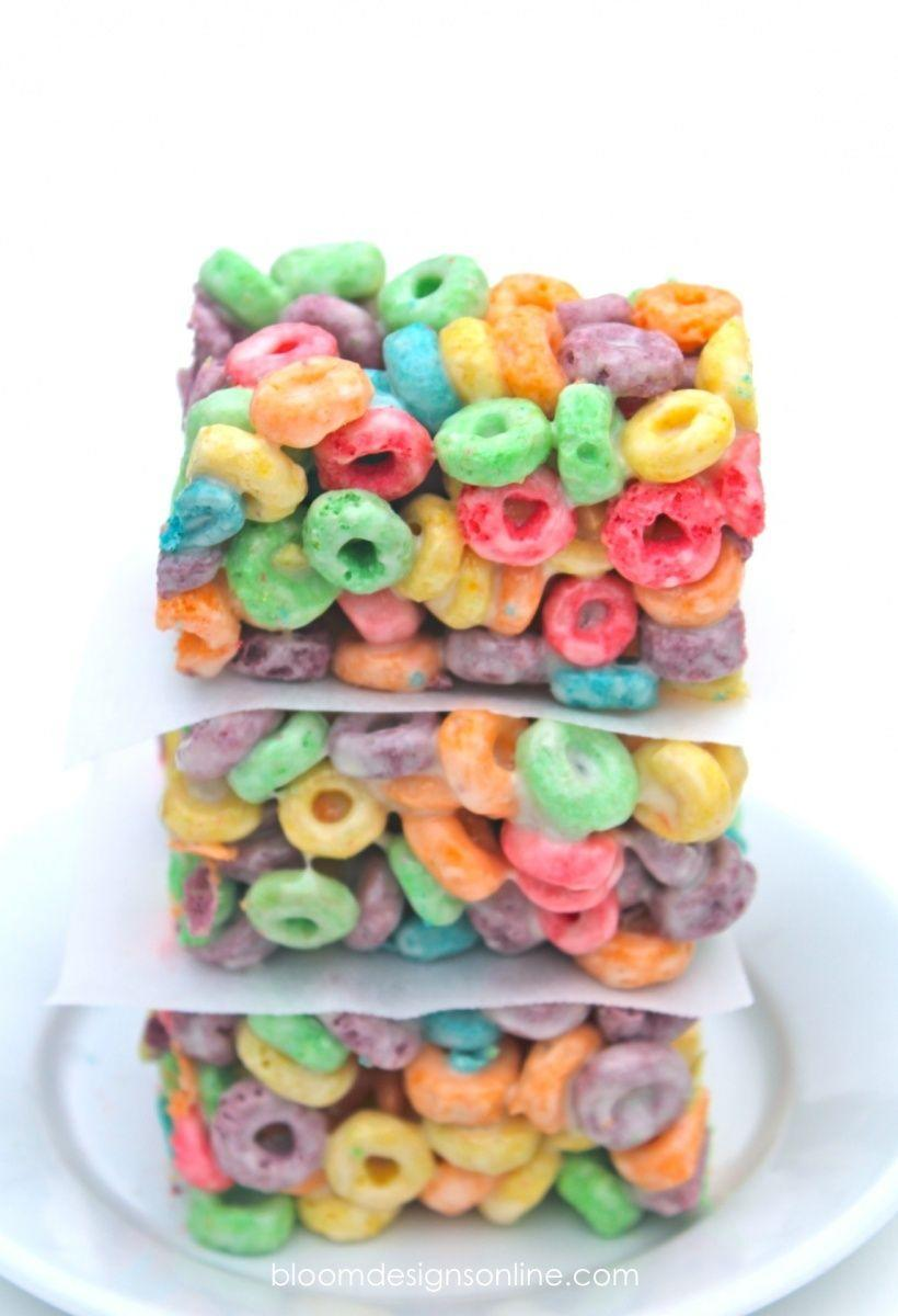 """<p>Any excuse to eat more Fruit Loops is fine by us.</p><p>Get the recipe from <a href=""""http://bloomdesignsonline.com/2014/03/rainbow-bars.html"""" rel=""""nofollow noopener"""" target=""""_blank"""" data-ylk=""""slk:Bloom Designs"""" class=""""link rapid-noclick-resp"""">Bloom Designs</a>.</p>"""