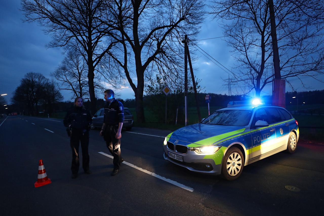 <p>Police road block near the Borussia Dortmund team hotel after an explosion before the game Reuters / Kai Pfaffenbach Livepic </p>