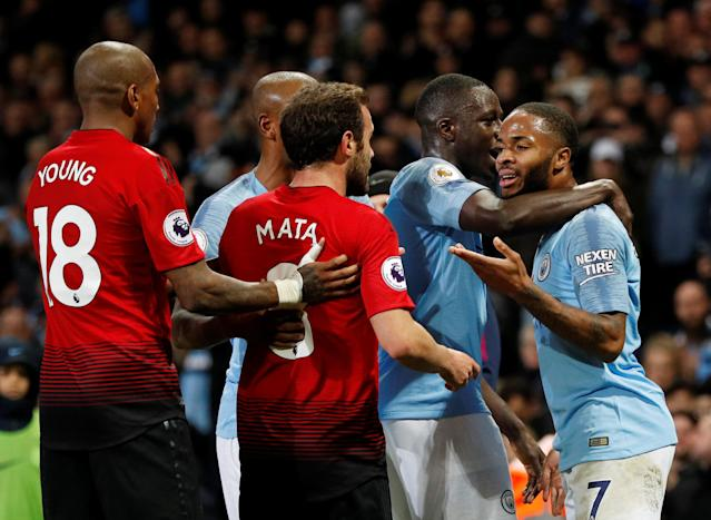 """Soccer Football - Premier League - Manchester City v Manchester United - Etihad Stadium, Manchester, Britain - November 11, 2018 Manchester City's Raheem Sterling clashes with Manchester United's Juan Mata REUTERS/Darren Staples EDITORIAL USE ONLY. No use with unauthorized audio, video, data, fixture lists, club/league logos or """"live"""" services. Online in-match use limited to 75 images, no video emulation. No use in betting, games or single club/league/player publications. Please contact your account representative for further details."""
