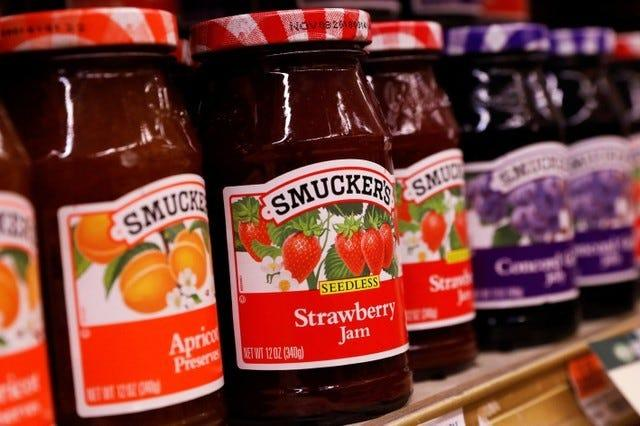 Containers of Smuckers's Jam are displayed in a supermarket in New York