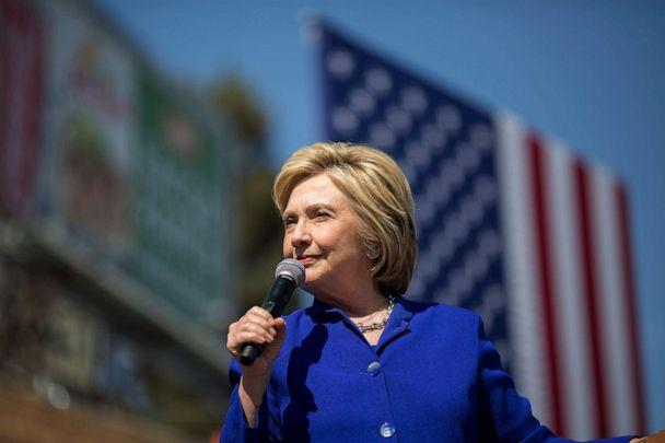 PHOTO: Democratic presidential candidate Hillary Clinton speaks at the South Los Angeles Get Out The Vote Rally at Leimert Park Village Plaza on June 6, 2016, in Los Angeles. (David McNew/Getty Images, FILE)
