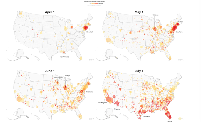 Each circle represents one county or territory. Only counties or territories with growth of over 50 new cases per 100,000 people in the preceding two weeks of the given date appear on each map.