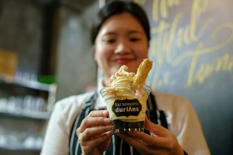 Customers at Mao Shan Wang cafe in Singapore's Chinatown district can enjoy a special menu with durian in all dishes, including ice cream