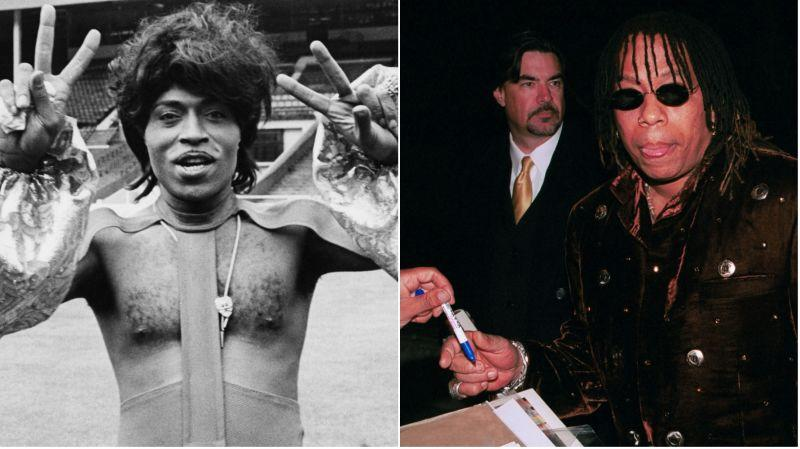 """Little Richard, left, as he prepares to perform at Wembley Stadium, 1972; Rick James poses at the film premiere of """"I Spy"""" on October 23, 2002, in Hollywood, Calif."""