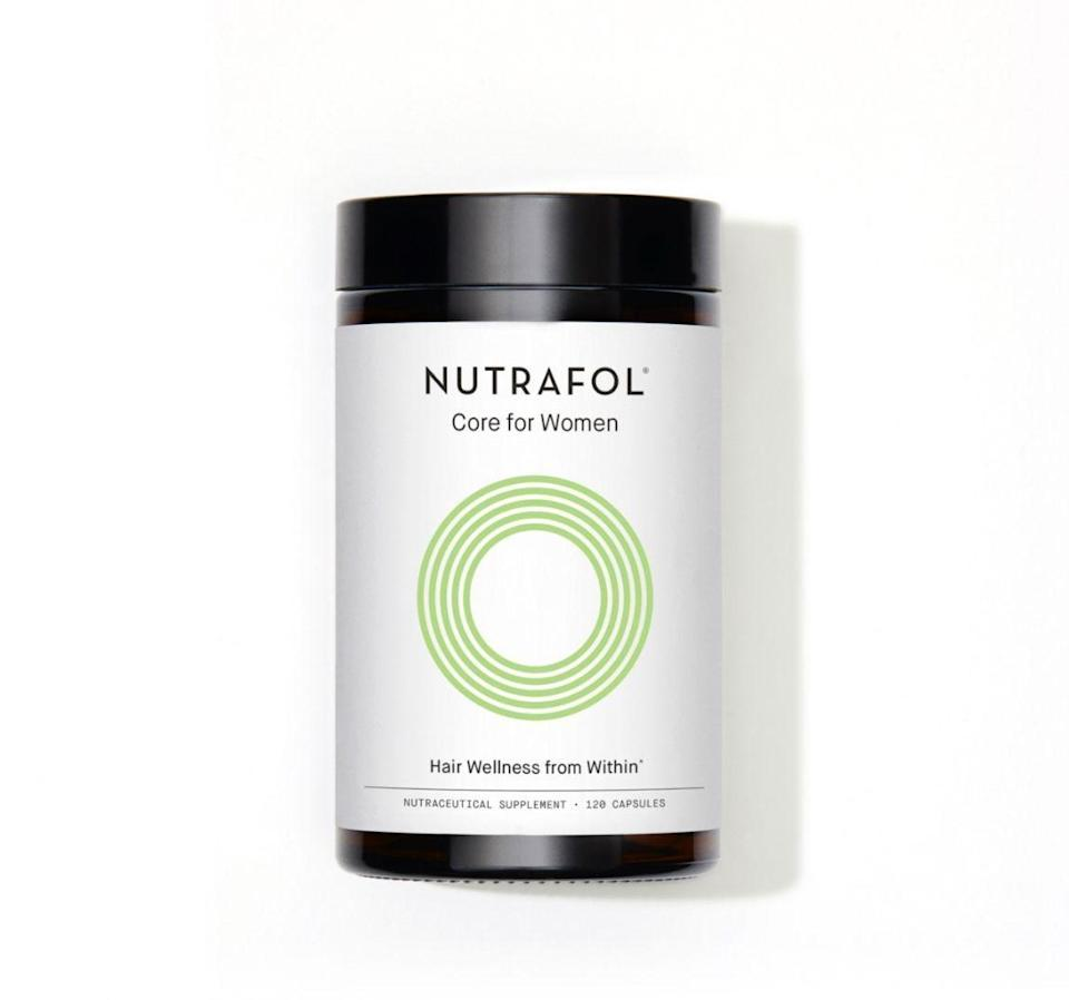 """<p><strong>Nutrafol</strong></p><p>amazon.com</p><p><strong>$88.00</strong></p><p><a href=""""https://www.amazon.com/dp/B00LU4CZP8?tag=syn-yahoo-20&ascsubtag=%5Bartid%7C10056.g.7807%5Bsrc%7Cyahoo-us"""" rel=""""nofollow noopener"""" target=""""_blank"""" data-ylk=""""slk:Shop Now"""" class=""""link rapid-noclick-resp"""">Shop Now</a></p><p>Nearly every dermatologist we interviewed for the 2019 Anti-Aging Awards agreed: in a sea of powders, gummies, pills, and shots promising thicker and fuller hair, Nutrafol is the only one that delivers results. Be patient: results can take three to six months—and you'll need to keep taking it to maintain your new hair growth. It works by fighting off inflammation and free radicals that impair follicle function. Vitamin E, keratin, marine-based collagen, and hyaluronic acid speed up growth, promote absorption of hair-boosting nutrients, and add oomph from the inside out.</p>"""