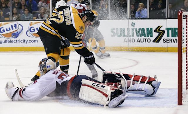 Washington Capitals goalie Braden Holtby sprawls on the ice as he makes the save on a shot by Boston Bruins right wing Shawn Thornton (22) during the second period of an NHL preseason hockey game, Monday, Sept. 23, 2013, in Boston. (AP Photo/Charles Krupa)