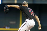 Arizona Diamondbacks' Riley Smith delivers a pitch against the Washington Nationals during the first inning of a baseball game Friday, May 14, 2021, in Phoenix. (AP Photo/Darryl Webb)