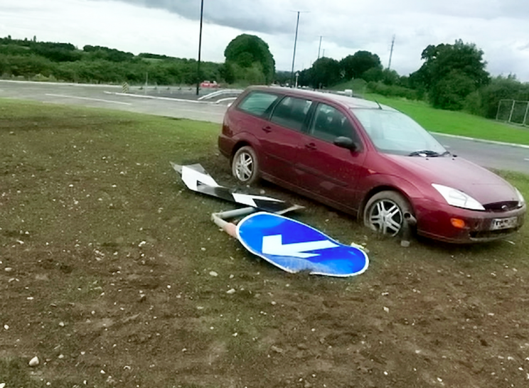 Six cars were involved in crashes on the day the roundabout opened (SWNS)