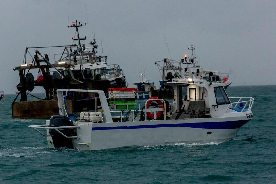 French fishing boats staging a protest outside the harbour at St Helier in May (Gary Grimshaw/Bailiwick Express/PA) (PA Media)
