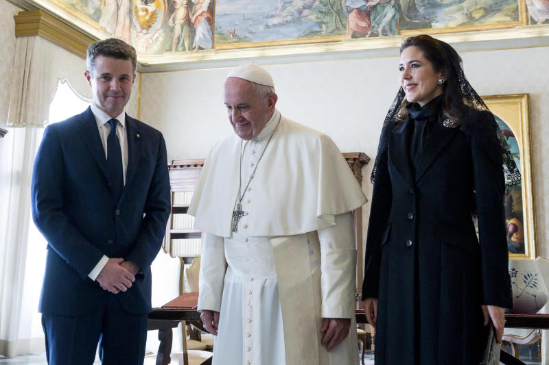 Pope Francis walks with Danish Crown Prince Frederik, left, and his wife Crown Princess Mary, on the occasion of their private audience, at the Vatican, Thursday, Nov. 8, 2018. (Angelo Carconi/Pool Photo via AP)