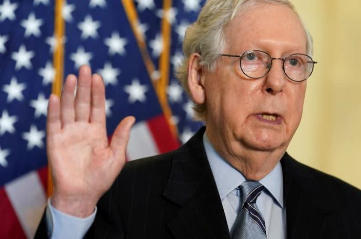 FILE PHOTO: FILE PHOTO: McConnell speaks after Senate Republican lunch at the U.S. Capitol in Washington