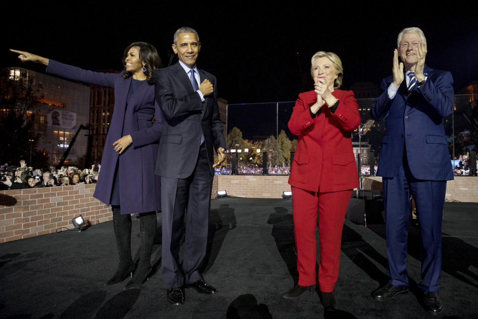 Hillary Clinton with Michelle Obama, then-President Barack Obama and former President Bill Clinton in Philadelphia on Nov. 7, 2016. (Photo: Andrew Harnik/AP)